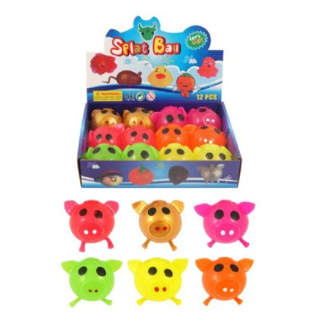 Pig Splat Ball - Squidgy Throwing Toy Assorted Colours